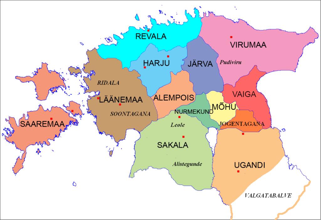 Eesti maakonnad 13. sajandil